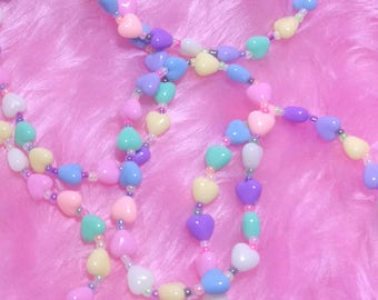 Fairy Kei Rainbow Hearts Stretchy Bracelet