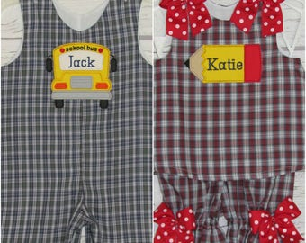 Back to school Twins Brother Sister Plaid Longall A-line Swing Top Bloomer Set Monogram Back To School Dress Romper