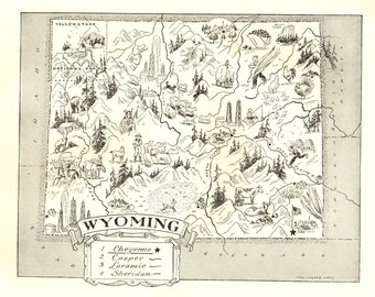 1950s Vintage WYOMING State Map Picture Cartoon Map of Wyoming Map Collector Gift for Traveler Anniversary Wedding Birthday 8351