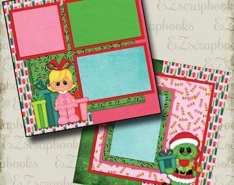 GRINCHY 2 - 2 Premade Scrapbook Pages - EZ Layout 933
