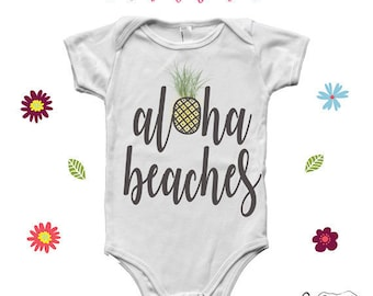 Aloha beaches pineapple baby onesie, unique baby clothes,pineapple gifts for kids, newborn boy clothes, baby boy clothes, infant boy onesies