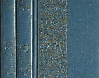 Blue Gray and Gold Books, set of 3, Doubleday Romance Library 1970s with Uniform Decorated Bindings, Blue Grey Decor for library wedding lot