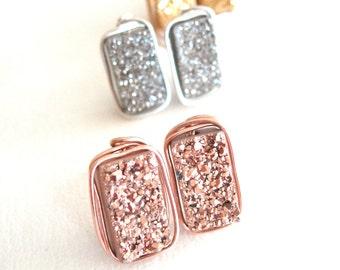 Druzy Bar Studs Post earrings 24K gold, rose gold, silver geometric earrings Under 65 Vitrine Designs