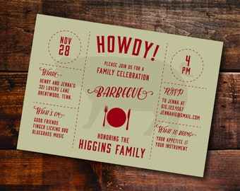 BBQ Party - 5x7 BBQ Party Invitation - 50 Flat Cards with Envelopes