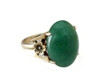 Sterling Vermeil Chrysoprase Large Ring - Victorian Style, Floral Band, Gold Over Sterling, Statement Ring, Vintage Ring, Size 7