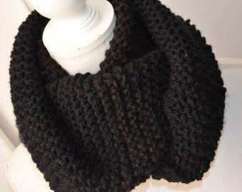 Scarf tube-Black wool cache collar Black wool Scarf - Unisex scarves-Knit-scarves-scarf-Winter accessories-Collar size-handmade-Man