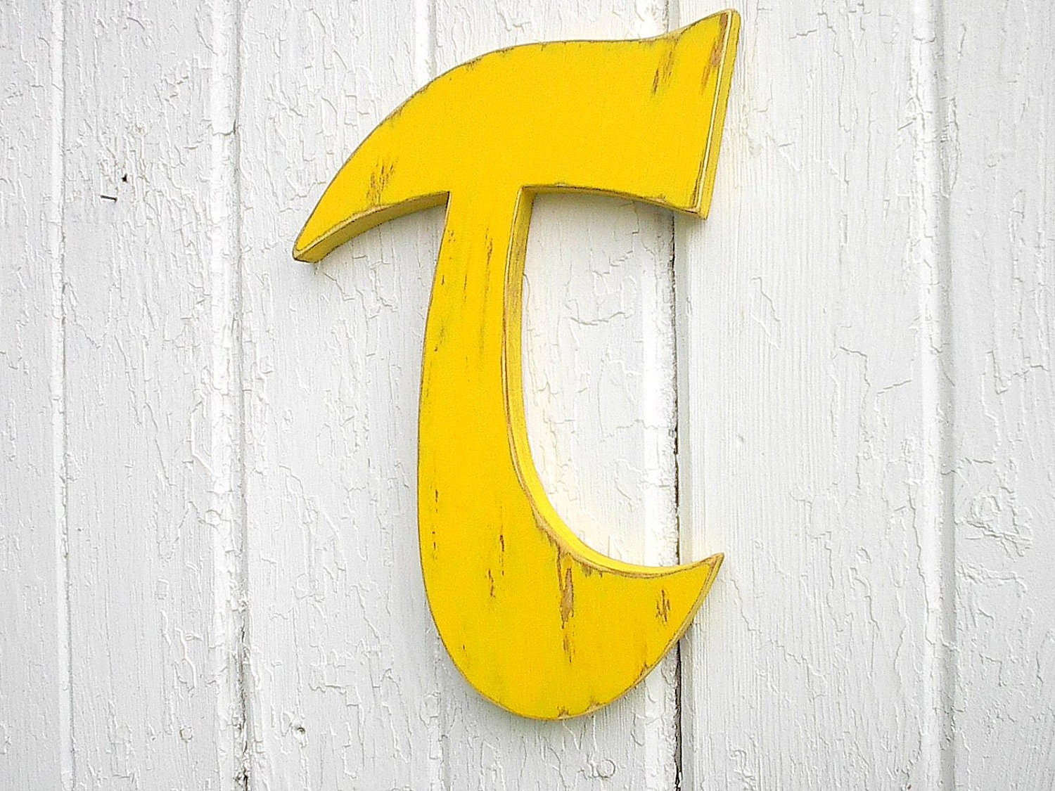 Wooden Wall Decoration Sign Yellow Personalized Distressed