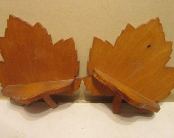 Pair of vintage folk art maple leaf shelves
