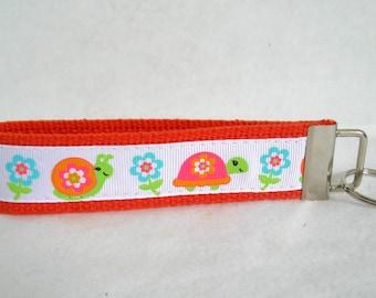 Snail Key Fob ORANGE Turtle Key Chain Wristlet Spring Key Chain