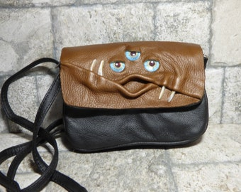 Small Cross Body Purse Messenger Bag With Face Harry Potter Labyrinth Monster Brown Black Leather 403