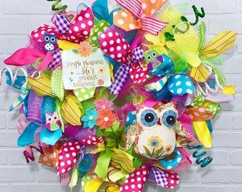 Spring deco mesh Wreath, Summer deco mesh Wreath, spring wreath, summer wreath, mesh spring wreath, mesh summer wreath, owl wreath