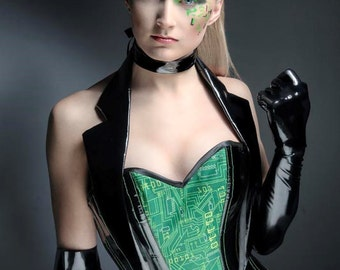 SALE. Ex display. Gothic cyberpunk Matrix inspired punk black and green corset costume with tails. cosplay.
