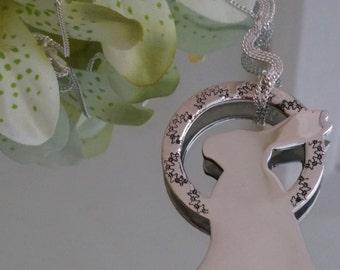 Halo Rabbit Fine Silver Necklace