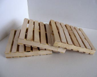 Miniature Wooden Pallets / 1:12 Scale Doll House Accesssories / Handmade with Unfinished Birch / Life-Like Pallets