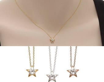 Star Necklace, Star Pendant, Birth Gift, Crystal Necklace, Layered Necklace, Delicate Necklace