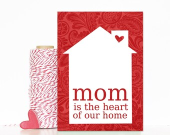 Mom is the Heart of our Home Mothers Day Greeting Art Card Red Damask Heart