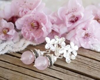 "Bohemian ""Sakura Blossom"" Dangle Earrings, Victorian Shabby Chic Romantic Pastel Pink Wedding Bride Bridesmaid Earrings Jewelry Gift ByLEXY"