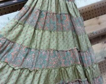 Silk boho maxi dress. Spaghetti straps. Beautiful colors.