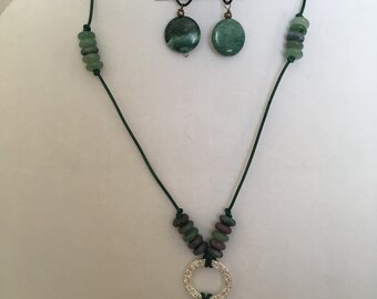 Green Leather and Beaded Necklace with Matching Earrings Set