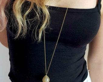 Golden Rutilated Quartz necklace, Golden Quartz necklace, Faceted Onion Briolette necklace, Double choker necklace, Long gemstone necklace