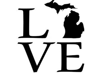 Michigan State Love Vinyl Car Decal Bumper Window Sticker Any Color Multiple Sizes Jenuine Crafts