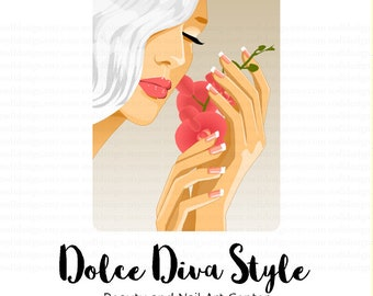 Dolce Diva Style Beauty Center and Nail Art Center Logo,  Character Illustrated Premade Logo design