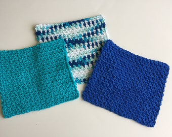 Crochet Textured Dishcloths - Handmade Washcloths - Kitchen Dishcloths - Reusable Dishcloths