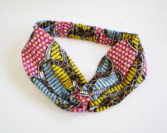 Colorful African Turban Headband, African Twist Headband, African Twisted Headband, Red Yellow Blue African Headband
