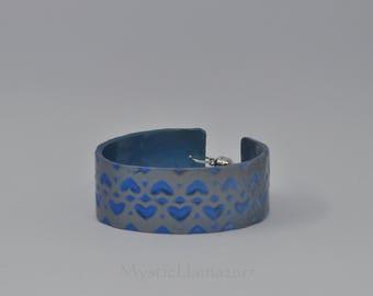 Silver and Blue Heart Cuff Bracelet - Polymer Clay Cuff - Tween Cuff Bracelet - Gift for Her - Child Size Cuff Bracelet - Girl's Cuff
