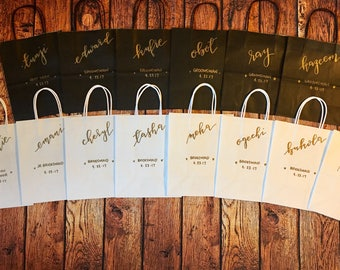 Handlettered Gift bags, Favor Bags, Bridesmaid gift bags, Groomsmen gift bags