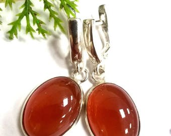 Carnelian Earrings, Chalcedony Family
