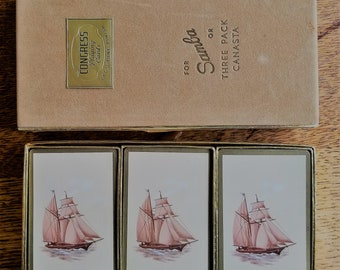 Samba Deck Canasta Playing Cards Set, Congress, 3 Pack Canasta, 1930s, VG Vintage Condition