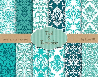 """Damask Digital Paper: """"Turquoise and Teal Damask """" turquoise digital paper for invitations, cardmaking, stationary, crafts, scrapbooking"""