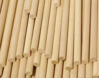 """Natural Birch Wood Dowel Rods Thick 1/2"""" x 12""""  - 10 pack (Made in USA) 