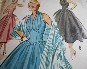 Vintage 1950's McCall's 9122 Evening or Bridal Dress and Stole Sewing Pattern Size 12 Bust 30