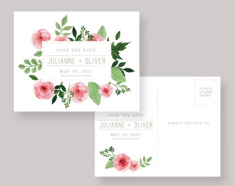 PRINTED or DIGITAL Pink Floral Watercolor Postcard Save the Date —Julianne Collection—Save The Date Post Card