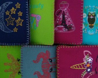 Machine embroidered felt covered notebook