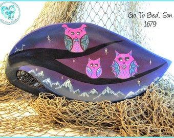 Three Sleepy Owls, Handpainted Wood Tray, Original Art, *blue, purple, pink* #1679