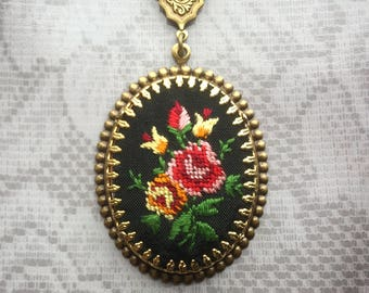 Embroidered Necklace - Embroidered Jewelry - Petit Point Necklace - Flower Necklace - Romantic Jewelry - Vintage Style - Rose Necklace