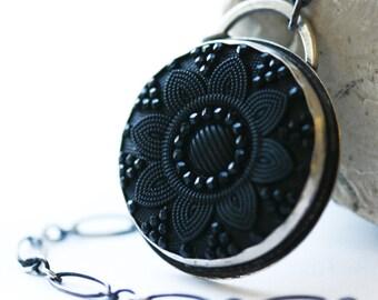Black Cabochon Necklace, Black Button Cabochon Sterling Silver Necklace