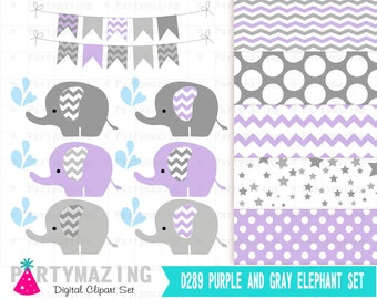 Lavender Baby Elephant Clipart Set, Grey Chevron Sprinkle Water, Cute Nursery Decor, Digital Paper Pack, Shower Set -D289