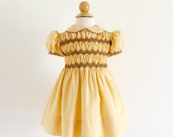 "SALE Vintage 1950s Girls Size 9-12M Dress / One Piece Butterscotch Yellow Silk Hand Smocked Dress From Paris / b16-20"" L16.5-18"""