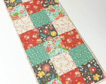 Table Topper Runner Quilted Patchwork Handmade Modern  Spring Dining Room Table