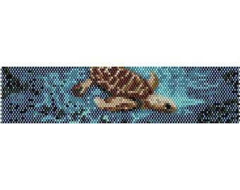 Sea Turtle 2 Peyote Bead Pattern, Bracelet Cuff, Bookmark, Seed Beading Pattern Miyuki Delica Size 11 Beads - PDF Instant Download