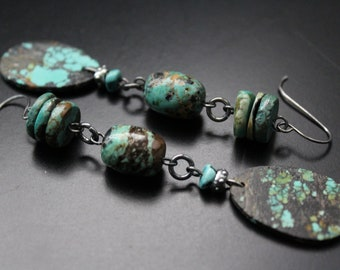 Long all genuine turquoise and oxidized sterling wire wrapped earrings, beach boho gemstone earrings, swingy year round handmade earrings