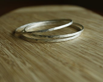 Made-to-Order—Your Choice—One, Two or Three Solid Hammered Sterling Silver Bangle Bracelets