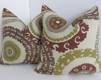 Pair Pillow Covers - Set - Suzani pillow cover- Brown Green Beige Pillow Covers - Suzani Pillows- Brown Beige Pillows