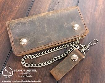 Buffalo Leather Biker Wallet / Leather Chain Wallet / Leather Trucker Wallet  / Leather Snap Wallet/Vintage Looking