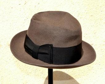 Vintage 50s Brown Fedora Felt Hat for Men