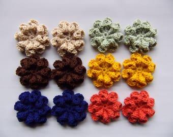 crocheted flower 3d embellishment set of 12, fall flowers, muted/earthy color flower, craft flower, flower applique, multi use, yarn flowers